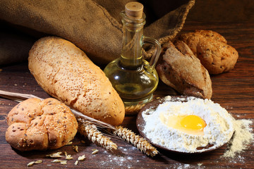 Preparation of the test for a home-made bread batch, a flour, eg
