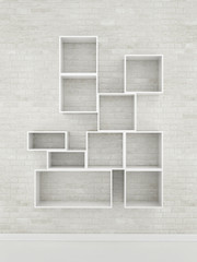 movk up empty shelf, 3d illustration