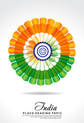 indian republic day background with flower