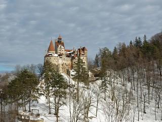 View of Bran Castle in winter season