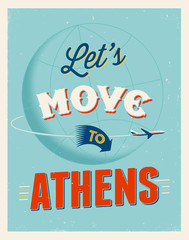 Vintage vacations poster - Let's move to Athens.