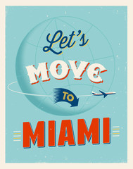 Vintage vacations poster - Let's move to Miami.