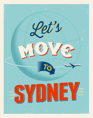 Vintage vacations poster - Let's move to Sydney.