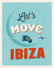 Vintage vacations poster - Let's move to Ibiza.