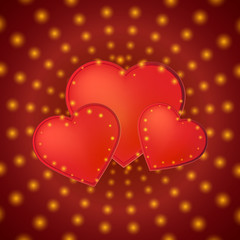 Romantic valentine day card with red hearts