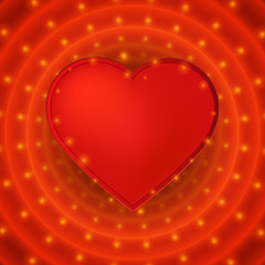 Romantic valentine day card with red heart