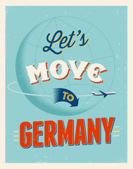 Vintage vacations poster - Let's move to Germany.