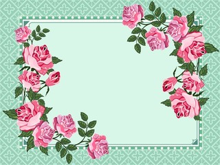 Vector ornament with  roses in vintage style.
