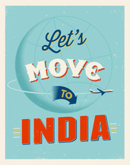 Vintage vacations poster - Let's move to India