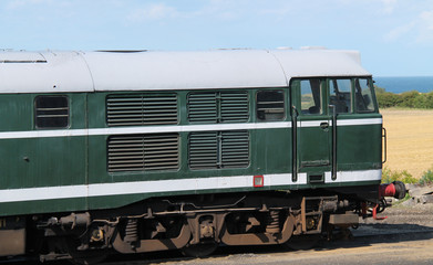 The Front of a Vintage Powerful Diesel Engine Train.