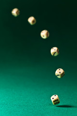 dice  on green table