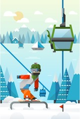 flat style vector background with snowboarder