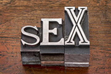 sex word in metal type