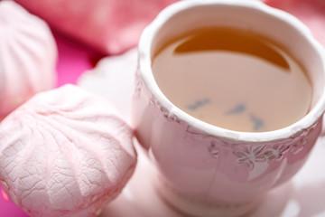 Marshmallow with tea