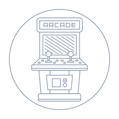simple line drawn vintage game arcade cabinet icon isolated
