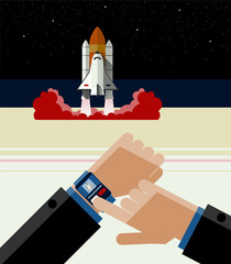 Illustration of Smart Watch and the Space Shuttle