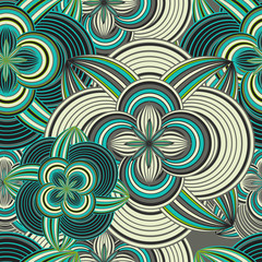 Seamless doodle ethnical flower background