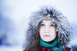 Fur Fashion.  sad Girl in Fur Hood. Winter Woman Portrait