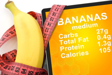 Tablet with Calories In banana. nutrition facts