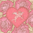 Valentine card with cupid and roses