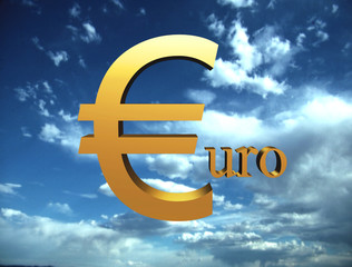 Euro symbol flying on the sky