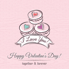 valentine card with  macaroni and  wishes text,  vector