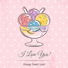 valentine card with  ice cream and wishes text,  vector