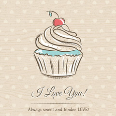 valentine card with  cupcake and wishes text,  vector