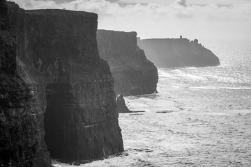 Idylllic Cliffs of Moher in Ireland, black and white