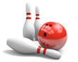 Leinwanddruck Bild - Red bowling ball and pins over a white background