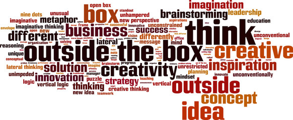 Think outside the box word cloud concept. Vector illustration