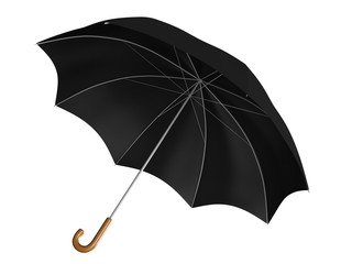 Black umbrella or parasol with classic curved handle