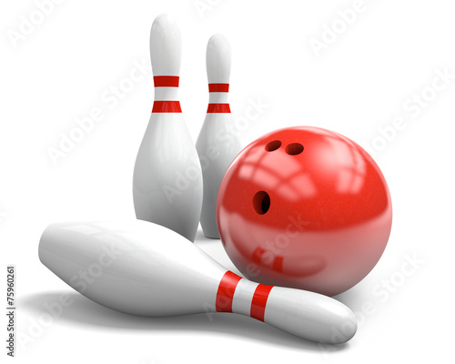 Leinwanddruck Bild Red bowling ball and pins over a white background