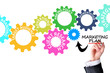 Marketing plan concept with gears
