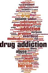Drug addiction word cloud concept. Vector illustration