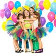 Obrazy na płótnie, fototapety, zdjęcia, fotoobrazy drukowane : Group of joyful little kids having fun at birthday party