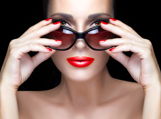 Bare Gorgeous Woman with Red Violet Shades, Makeup and Manicure