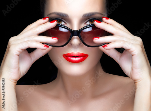 canvas print picture Bare Gorgeous Woman with Red Violet Shades, Makeup and Manicure