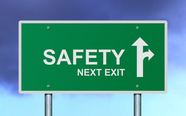 Safety next exit road sign.