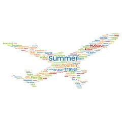 Conceptual summer travel or tourism plane word cloud