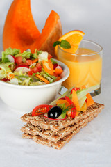 crispbread and fruits to supply the ideal figure