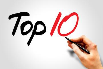 Hand writing Top Ten, business concept