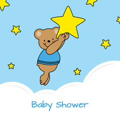 baby shower card. bear and stars