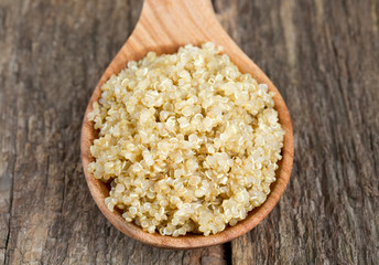 cookied quinoa on wooden surface