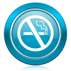 no smoking blue icon