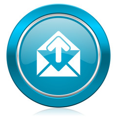 email blue icon post message sign
