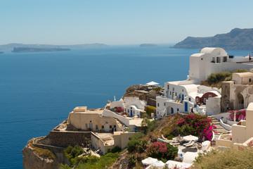Panoramic view of Oia on Santorini island, Greece