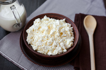 Delicious homemade cottage cheese with milk on the table