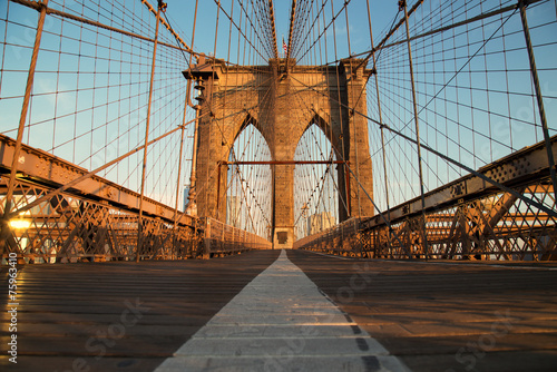 Vintage Brooklyn Bridge at sunrise, New York City © romanslavik.com