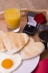 Valentine Breakfast on a Tray With Diamond Ring